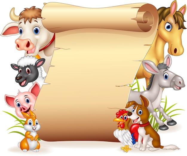 Animais de fazenda engraçada dos desenhos animados com sinal em branco Vetor Premium