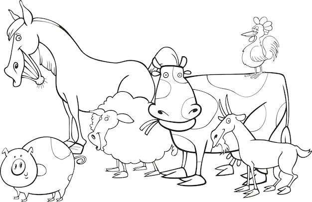 Animais De Fazenda Para Colorir Livro Vetor Premium