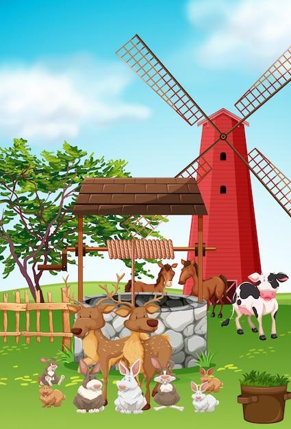 Animais de fazenda que vivem na fazenda Vetor grátis