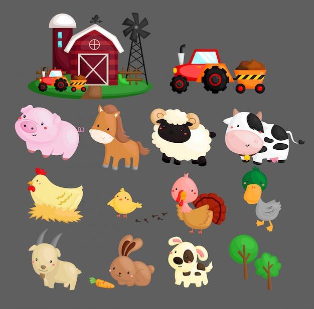 Animais de fazenda Vetor Premium