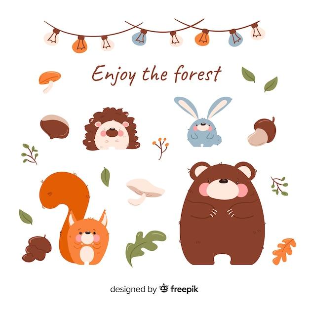 Animais de floresta de outono de mão desenhada Vetor grátis