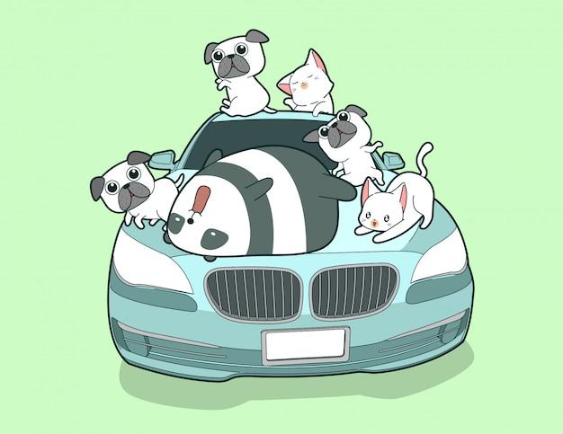 Animais de kawaii e auto carro azul no estilo dos desenhos animados. Vetor Premium