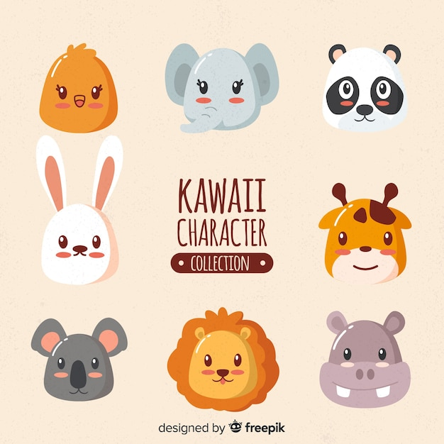 Animais de kawaii mão desenhada coleção Vetor grátis