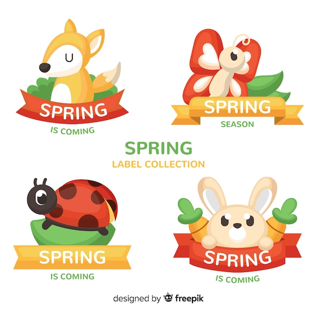 Animais de mão desenhada primavera coleção de rótulo Vetor grátis