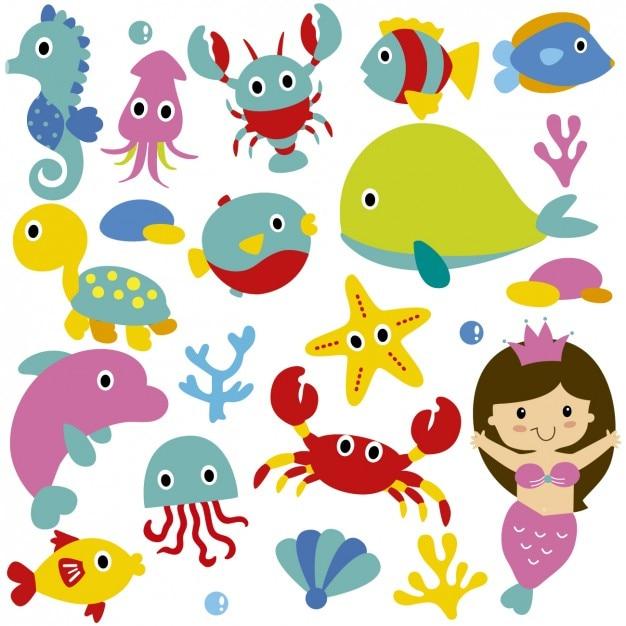 Animais de mar bonitos e sereia Vetor grátis