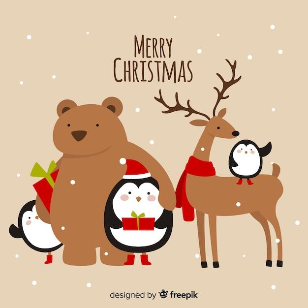 Animais de natal Vetor grátis