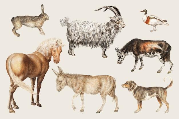 Animais de pecuária rural Vetor grátis