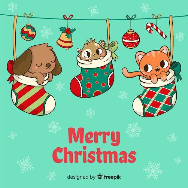 Animais, dentro, meias, natal, fundo Vetor grátis