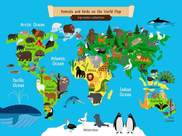 Animais do mapa do mundo Vetor Premium