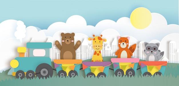 Animais do safari viajando no trem. corte de papel e estilo artesanal Vetor Premium