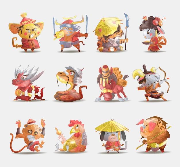 Animais do zodíaco chinês conjunto de desenhos animados de coelho cachorro macaco porco tigre cavalo dragão cabra cobra galo boi rato isolado cartoon mão ilustrações desenhadas Vetor Premium