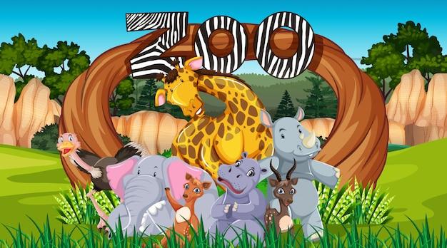Animais do zoológico no fundo natureza selvagem Vetor grátis