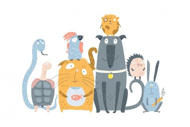 Animais domésticos pet shop Vetor Premium