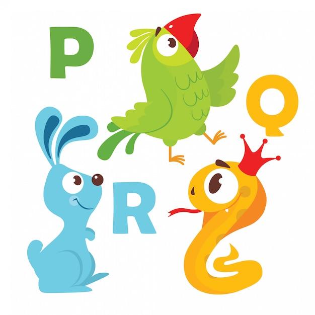 Animais dos desenhos animados alfabeto Vetor Premium