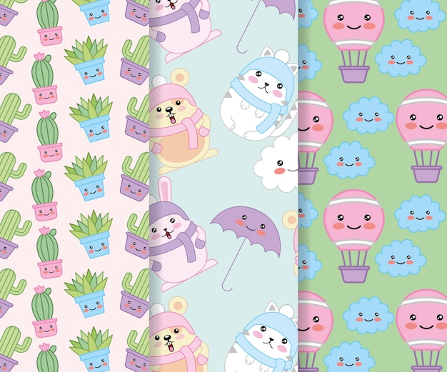 Animais e plantas com balões design de personagens kawaii quente Vetor Premium