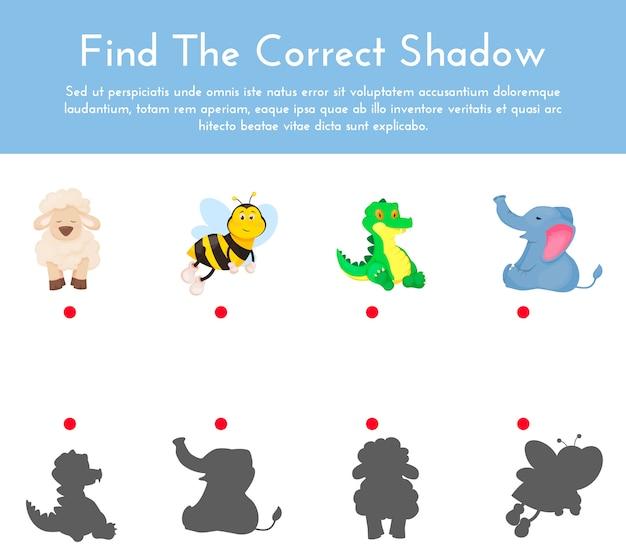 Animais e suas formas de sombra jogo de correspondência Vetor Premium