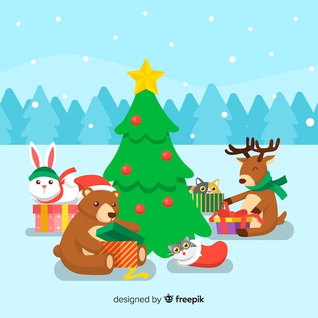 Animais em natal Vetor grátis