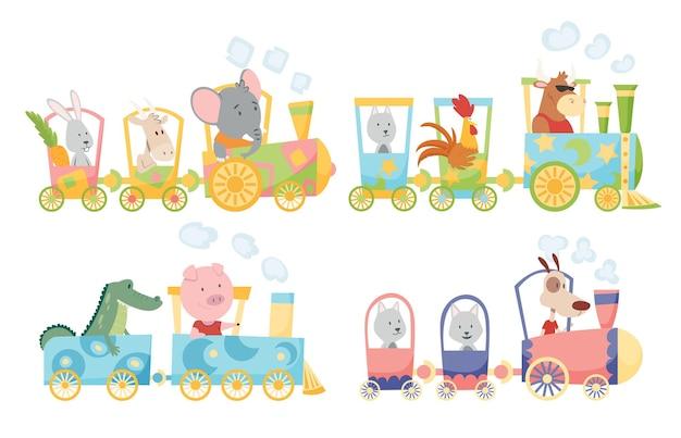 Animais engraçados no design da ilustração da locomotiva Vetor Premium