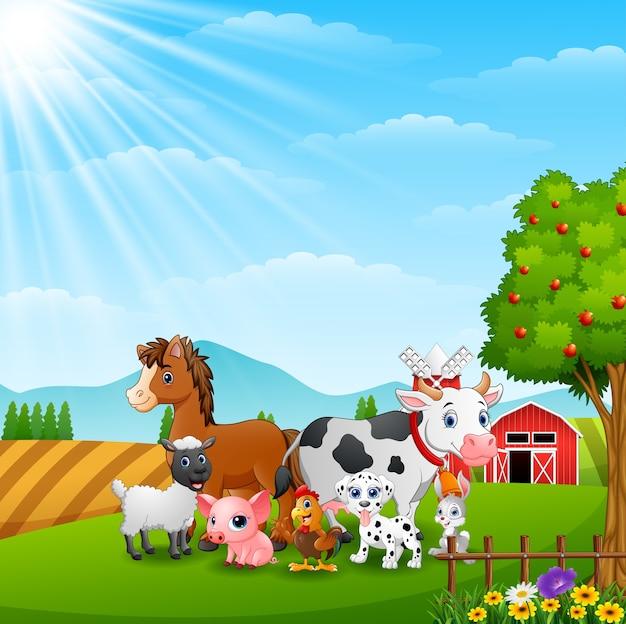 Animais felizes no fundo da fazenda na luz do dia Vetor Premium