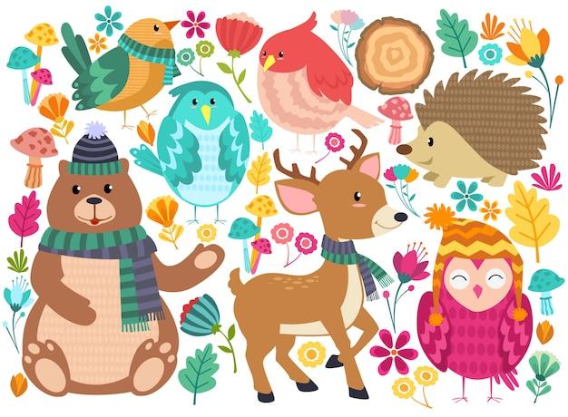 Animais floresta bonito dos desenhos animados Vetor Premium