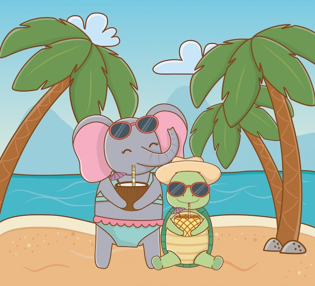 Animais fofos, aproveitando as férias de verão Vetor grátis