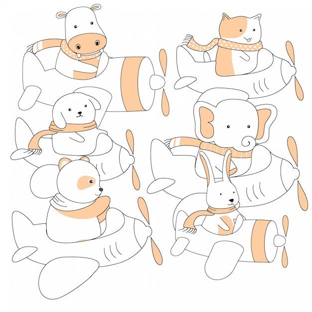 Animais fofos de handdrawn e cartoon de avião Vetor Premium