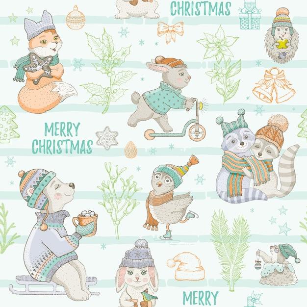 Animais fofos de natal hortelã padrão sem emenda. doodle urso coelho guaxinim coruja raposa toupeira. fundo de esboço desenhado de mão. ilustração isolada de natal. papel de embrulho, pacote infantil, estampa de tecido infantil Vetor Premium