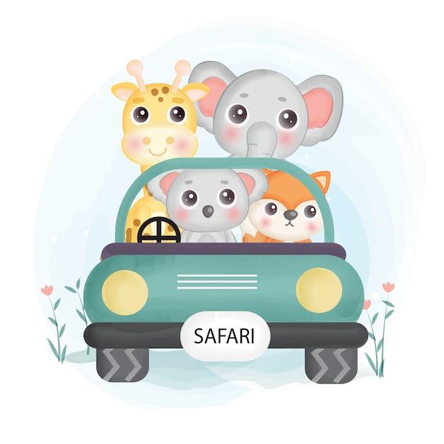 Animais fofos do safari situando-se em um carro no estilo de aquarela. Vetor Premium