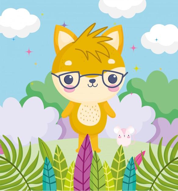 Animais fofos, gatinho com óculos e rato grama deixa nuvens Vetor Premium