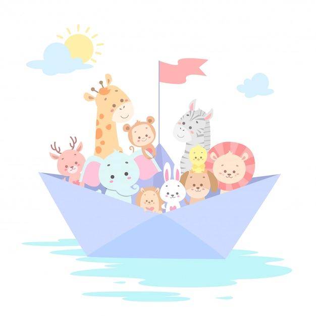 Animais fofos na ilustração vetorial de barco Vetor Premium