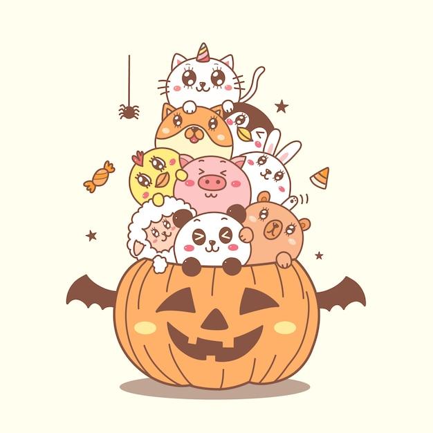 Animais fofos na mão dos desenhos animados de abóbora desenhados para o dia de halloween. Vetor Premium