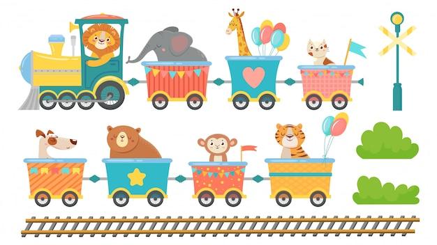 Animais fofos no trem. animal feliz em um vagão de trem, bichinhos de estimação andam em um conjunto de ilustração vetorial de locomotiva de brinquedo Vetor Premium