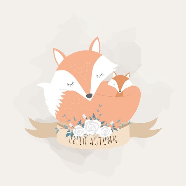 Animais fofos para o dia das mães. raposas mãe e bebê. Vetor Premium