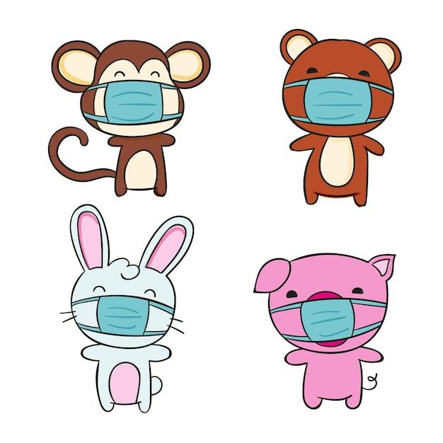 Animais fofos usando máscaras Vetor Premium