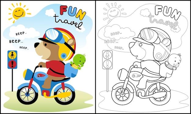 Animais fofos viajam desenhos animados com motocicleta Vetor Premium