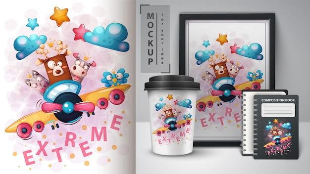 Animais fofos viajam ilustração e merchandising Vetor Premium