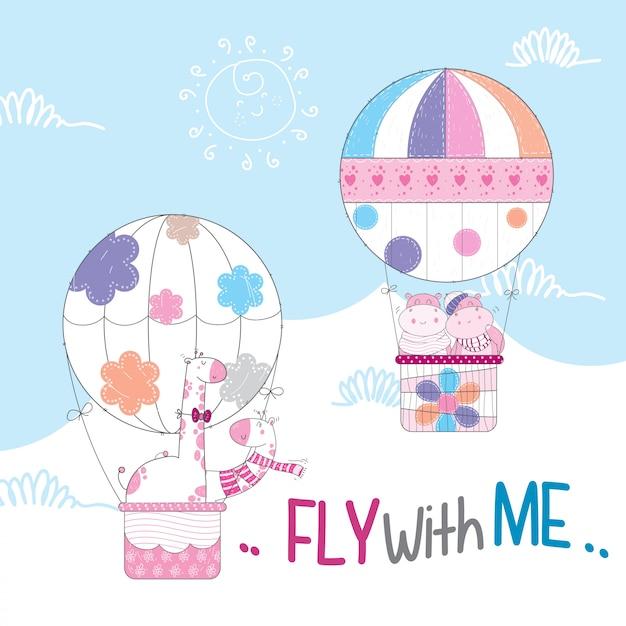 Animais fofos voando no balão de ar quente Vetor Premium