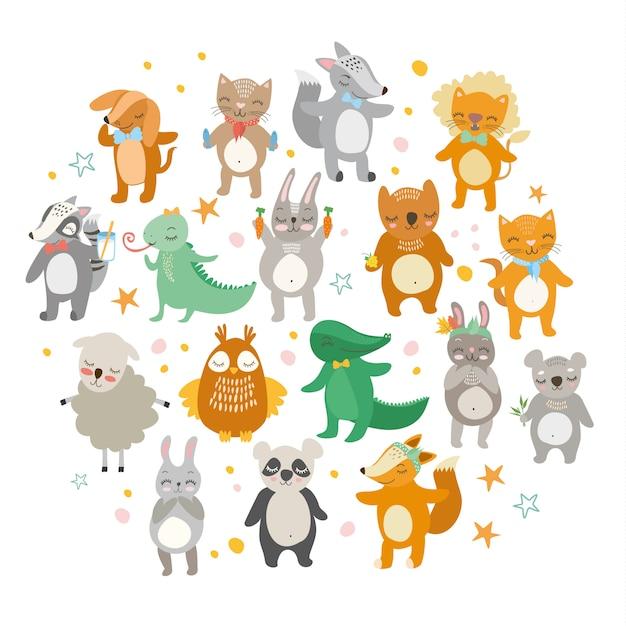 Animais fofos, zoológico engraçado, leão, gato, crocodilo, raposa, cachorro, coruja, ovelha, urso, lebre. Vetor grátis