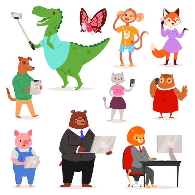 Animais gadget personagem de desenho animalesco urso gato ou cachorro segurando o telefone ou câmera para ilustração da foto de selfie Vetor Premium