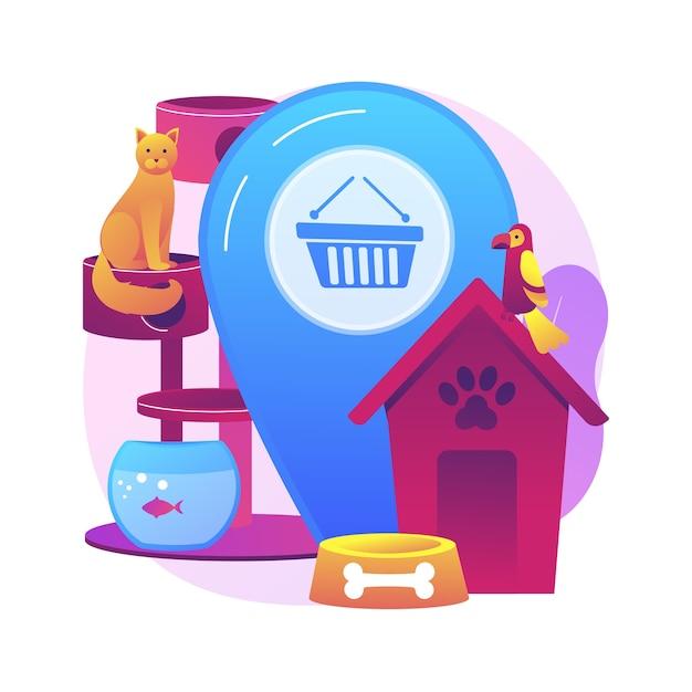 Animais loja ilustração do conceito abstrato. animais suprimentos on-line, loja virtual de produtos para animais de estimação, compra de um cachorro, remédios e alimentos, acessórios para animais de estimação, site de cosméticos para cuidados pessoais Vetor grátis