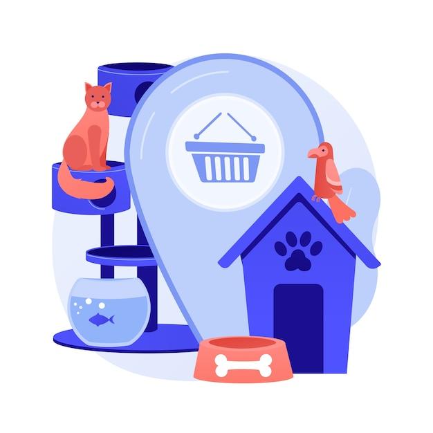 Animais loja ilustração em vetor conceito abstrato. animais fornece online, loja online de produtos para animais de estimação, compra de um cachorro, remédios e comida, acessórios para animais de estimação, metáfora abstrata de site de cosméticos de cuidados pessoais Vetor grátis