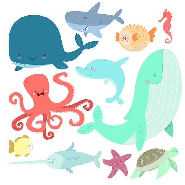 Animais marinhos em estilo cartoon Vetor Premium
