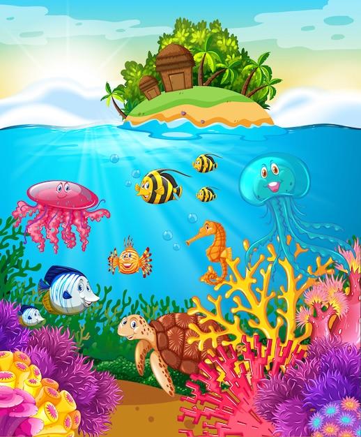Animais marinhos nadando sob o mar Vetor Premium