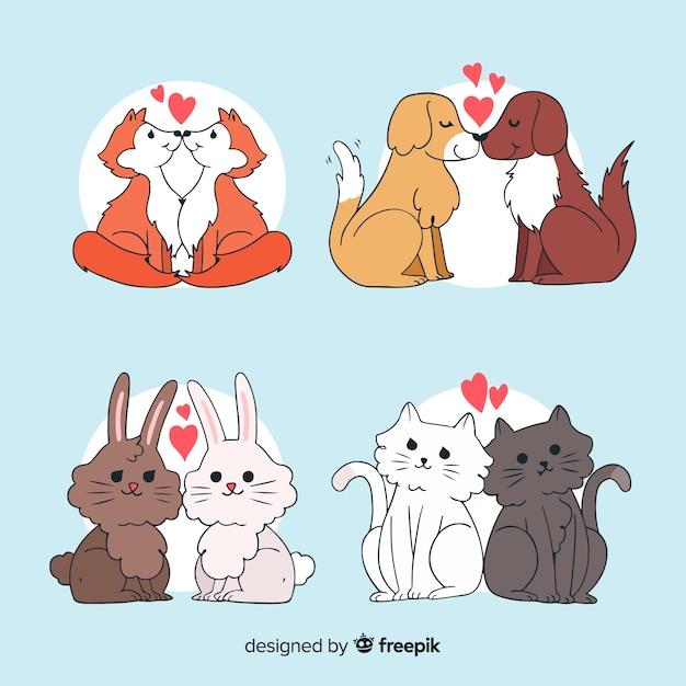 Animais na coleção de amor Vetor grátis