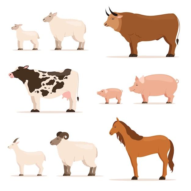 Animais na fazenda. cordeiro, leitão, vaca e ovelha, cabra. ilustrações vetoriais definidas no estilo dos desenhos animados Vetor Premium