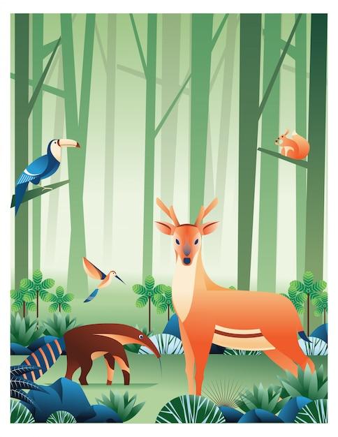 Animais na floresta Vetor Premium
