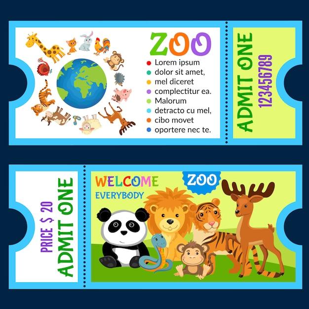 Animais na selva. modelo de convite de bilhete. Vetor Premium