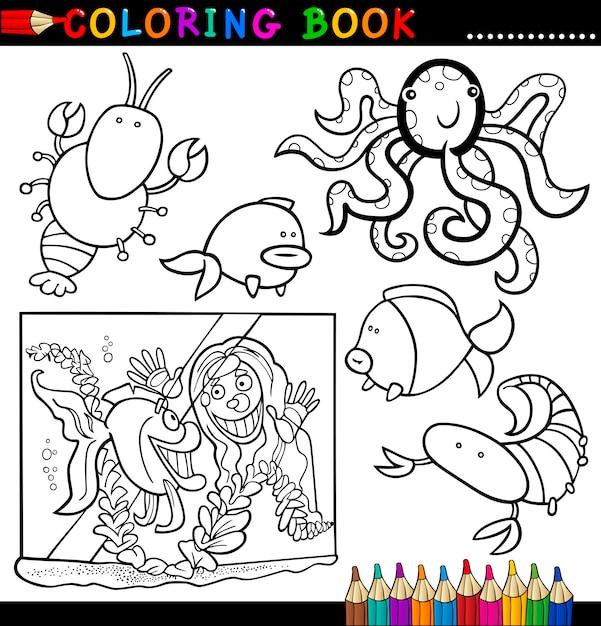 Animais Para Colorir Livro Ou Pagina Vetor Premium