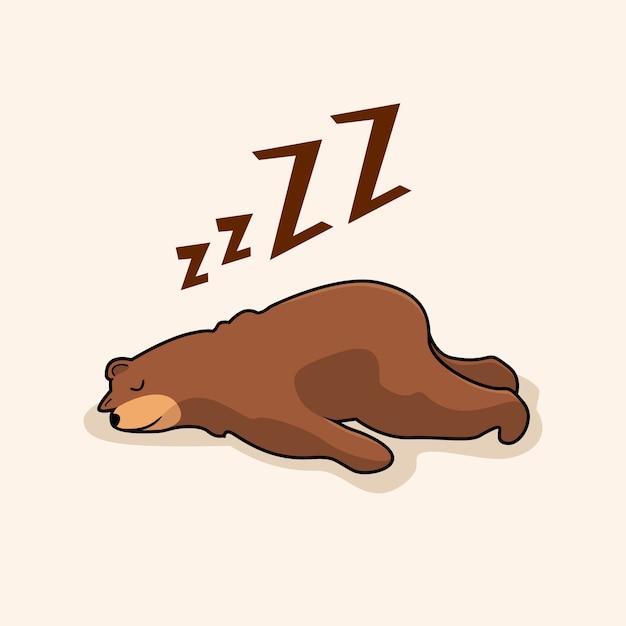 Animais preguiçosos do sono dos desenhos animados do urso Vetor Premium