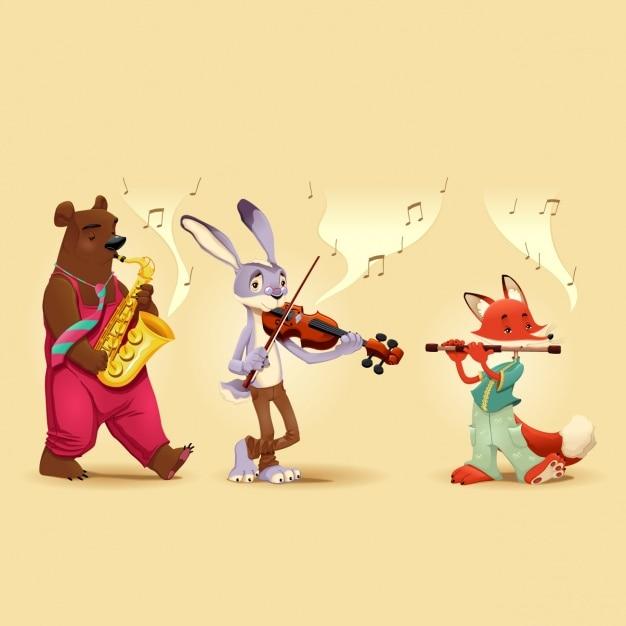 Animais que jogam instrumentos musicais Vetor grátis